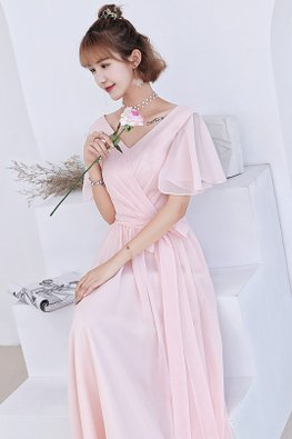 Pink V-Neckline Wide Sleeves Lace-up Dress