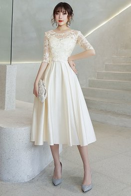 Champagne / Black Sweetheart Illusion Elbow Sleeves A-Line Dress