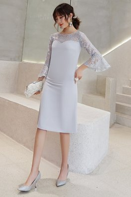 Grey / Navy Blue Sweetheart Illusion Lace Trumpet Sleeves Dress