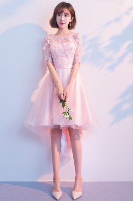 Pink Illusion Elbow Sleeves 3D Floral Hi-Lo Gown