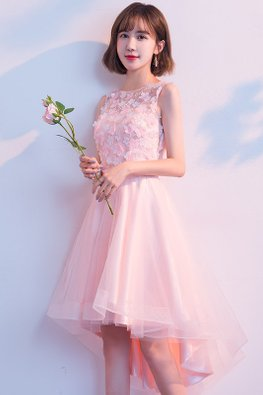 Pink Illusion Sleeveless 3D Floral Hi-Lo Gown