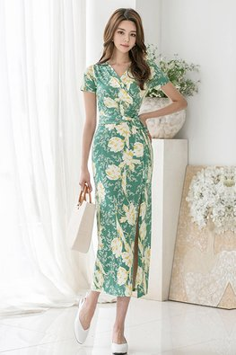 Green V-Wrap Short Sleeves Front Slit Floral Dress