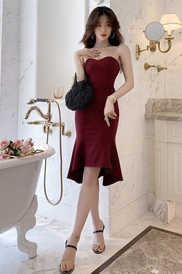 Wine Red Sweetheart Mermaid Hi-Lo Dress