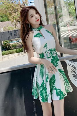 Green Halter Neckline Keyhole Open Back Summer Dress