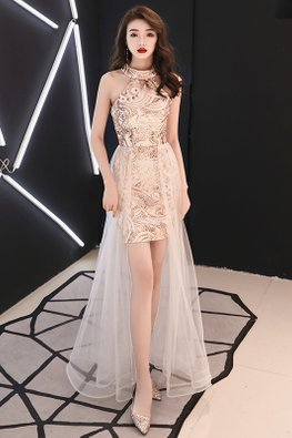 Gold Halter Neckline Sequins Tulle Gown