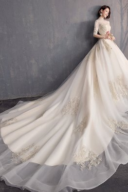 Mandarin Collar Illusion Elbow Sleeves Wedding Gown with Chapel Train