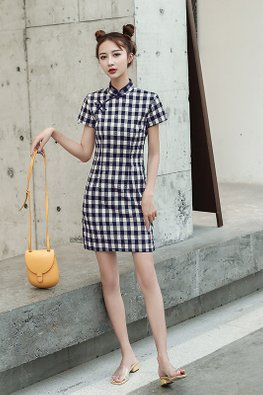 Dark Blue Mandarin Collar Checkered Cheongsam