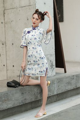White Mandarin Collar Wide Sheer Sleeves Floral Cheongsam