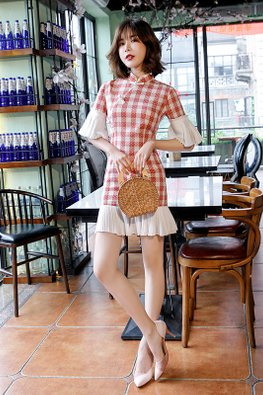 Red Mandarin Collar Trumpet Sleeves Checkered Mermaid Cheongsam