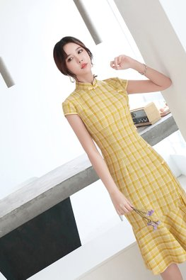 Assorted Colours Mandarin Collar Cap Sleeves Checkered Mermaid Cheongsam