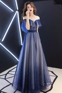 Space Blue Sweetheart Illusion Twinkle Gown