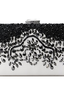 Black White Rectangular Jewel Clutch