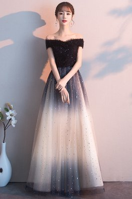 Black Off-Shoulder Gradient Twinkle Gown