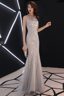 Silver Sweetheart Illusion Leaf Patterned Mermaid Gown (Express)