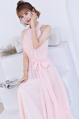Pink Halter Neckline Peekaboo Back Lace-up Dress