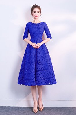 Royal Blue Round Mini-V Neckline Geometric Dress (Express)