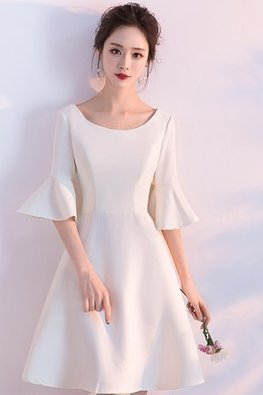 Wine Red / White Round Neck Elbow Trumpet Sleeves Dress
