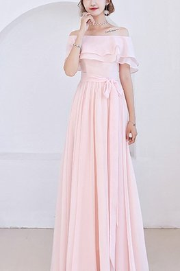 Pink Off-Shoulder Double Overlay Lace-up Dress