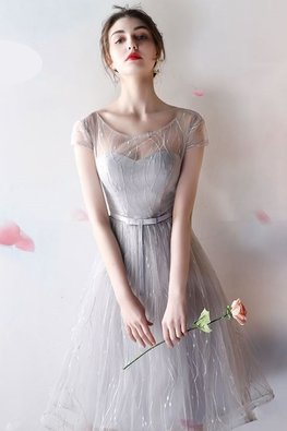 Dusty Pink / Grey Jewel Illusion Neckline A-Line Gown