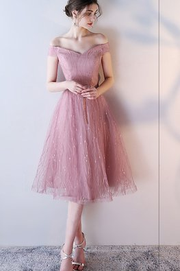 Dusty Pink Sweetheart Off-Shoulder A-Line Gown (Express)
