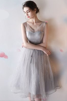 Dusty Pink / Grey Illusion V-Neck A-Line Gown