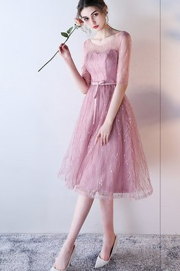 Dusty Pink / Grey Illusion Neck Elbow Sleeves A-Line Gown