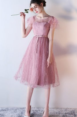 Dusty Pink Illusion Neck Butterfly Sleeves A-Line Gown (Express)