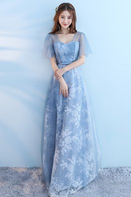 Blue Illusion Neckline Butterfly Sleeves A-Line Gown