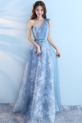 Blue One-Shoulder Floral Fabric A-Line Gown