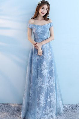 Blue Off-Shoulder Sweetheart Floral Fabric A-Line Gown