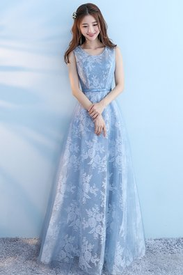 Blue Jewel Neckline Floral Fabric A-Line Gown