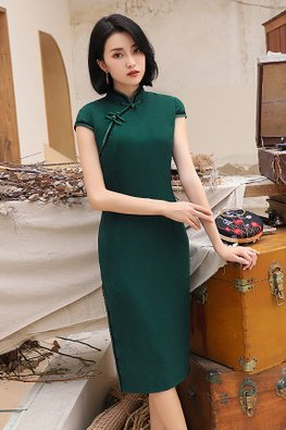 Assorted Colours Mandarin Collar Black Lace Cheongsam