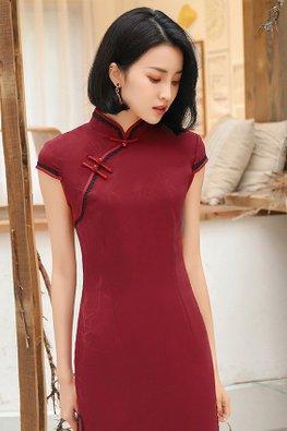 Wine Red Mandarin Collar Black Lace Cheongsam (Express)