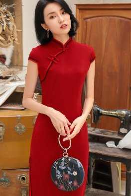 Red Mandarin Collar Black Lace Cheongsam (Express)