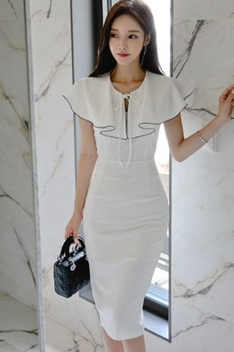 White Black Trimmings Cape Sheath Dress