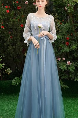 Assorted Colours Illusion Neckline Trumpet Sleeves Applique Lace Gown