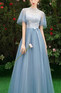 Grey Blue High Neck Butterfly Sleeves Applique Lace Gown (Express)