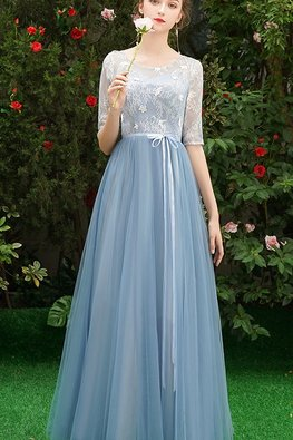 Assorted Colours Illusion Neckline Elbow Sleeves Applique Lace Gown