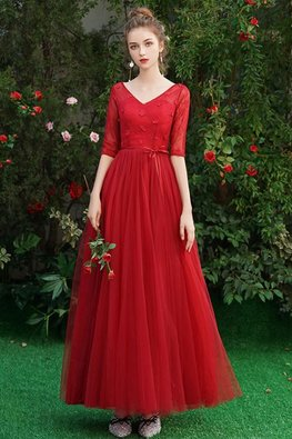 Assorted Colours V-Neck Elbow Sleeves Applique Lace Gown