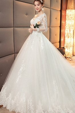 V-Neck Illusion Sleeves Lace Wedding Gown with Chapel Train