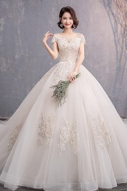 Illusion Neckline Sweetheart Lace Wedding Gown with Chapel Train