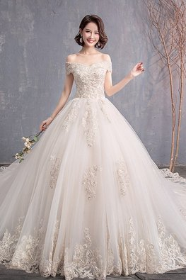 V Off-Shoulder Lace Sleeve Wedding Gown with Chapel Train