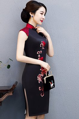 Assorted Colours Mandarin Collar Double Embroidery Silk Cheongsam