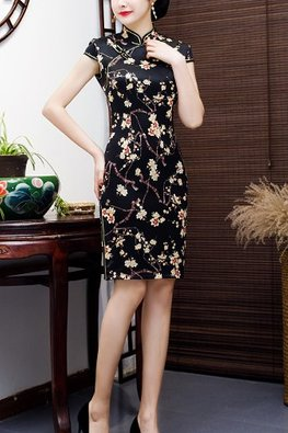 Black Mandarin Collar Yellow Floral Silk Cheongsam