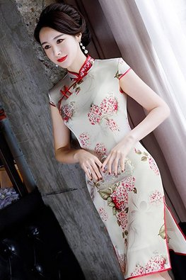 Red Trimmings Mandarin Collar Mulberry Silk Cheongsam