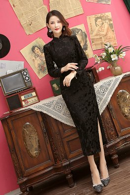 Mandarin Collar Long Sleeves Chenille Cheongsam