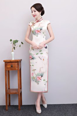 Pink Green Trimmings Mandarin Collar Mulberry Silk Cheongsam