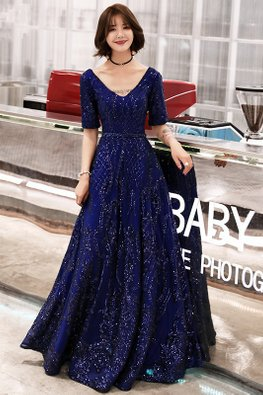 Blue V-Neck Elbow Sleeves Sequins Patterned Gown (Express)