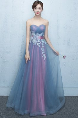 Purple Sweetheart 3D Floral Embroidery Tulle Gown