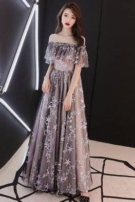 Off-Shoulder Jewel-Lined Stars Gown